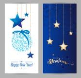 Natale e nuovi anni di festa di cartolina d'auguri Fotografia Stock