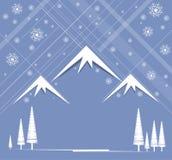 Natale e nuovo anno felice con la montagna ed il cielo Immagini Stock Libere da Diritti