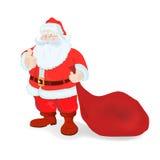 Natale e nuovo anno Il Babbo Natale _2 Borsa con i regali Fotografia Stock