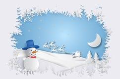 Natale e nuovo anno Pupazzo di neve con il Babbo Natale Fotografia Stock