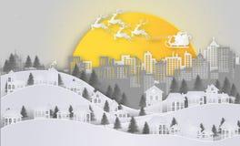 Natale e nuovo anno Santa Claus e renna sul cielo e Immagini Stock