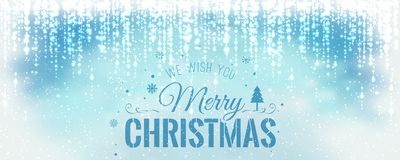 Natale e nuovo anno tipografici su fondo nevoso con l'accensione, luce, stelle illustrazione di stock