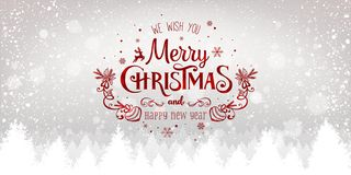 Natale e nuovo anno tipografici sul fondo nevoso di natale con il paesaggio con i fiocchi di neve, luce, stelle di inverno royalty illustrazione gratis