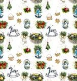 Natale e nuovo anno Vettore senza giunte Illustrazione disegnata a mano dell'acquerello illustrazione vettoriale