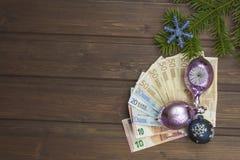 Natale e soldi Fotografie Stock Libere da Diritti