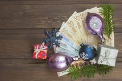 Natale e soldi Fotografia Stock Libera da Diritti