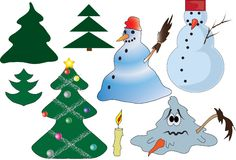 Natale ed elementi di inverno Immagini Stock