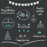 Natale ed elementi di progettazione di vacanze invernali Fotografia Stock