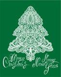 Natale ed elemento del nuovo anno - merletti l'albero di abete Fotografia Stock Libera da Diritti