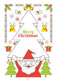 Natale ed il Babbo Natale, linea manifesto di stile Fotografie Stock
