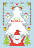 Natale ed il Babbo Natale, linea manifesto di stile Immagini Stock Libere da Diritti