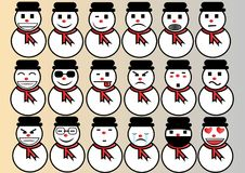 Natale ed inverno stabiliti dell'emoticon royalty illustrazione gratis