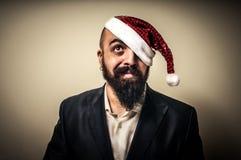 Natale elegante moderno dubbioso di babbo del Babbo Natale Fotografia Stock Libera da Diritti