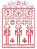 Natale elegante scandinavo, inverno nordico di stile cucente, modello compreso il fiocco di neve, cuore, soldato delle schiaccian illustrazione di stock