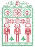 Natale elegante scandinavo, inverno nordico di stile cucente, modello compreso il fiocco di neve, cuore, soldato delle schiaccian royalty illustrazione gratis
