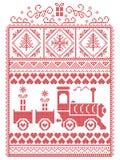 Natale elegante scandinavo, inverno nordico di stile cucente, modello compreso il fiocco di neve, cuore, treno di sugo, alberi di illustrazione vettoriale