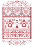 Natale elegante scandinavo, inverno nordico di stile cucente, modello compreso l'angelo, fiocchi di neve, cuore, regalo, stella,  illustrazione vettoriale