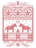 Natale elegante scandinavo, modello nordico del punto dell'incrocio di inverno di stile compreso il fiocco di neve, cuore, cavall illustrazione vettoriale