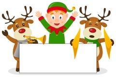 Natale Elf & renna con l'insegna Immagini Stock Libere da Diritti