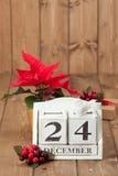 Natale Eve Date On Calendar 24 dicembre Fotografia Stock