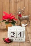 Natale Eve Date On Calendar 24 dicembre Fotografie Stock