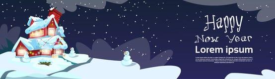 Natale Eve Holiday House Winter Snow, cartolina d'auguri del nuovo anno del regalo del pupazzo di neve Fotografia Stock