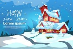 Natale Eve Holiday House Winter Snow, cartolina d'auguri del nuovo anno del regalo del pupazzo di neve Fotografia Stock Libera da Diritti