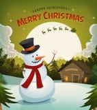 Natale Eve With Snowman Background Fotografia Stock Libera da Diritti