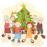 Natale. Famiglia felice che balla insieme. Fotografie Stock Libere da Diritti