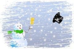 Natale felice della bufera di neve Fotografia Stock