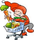 Natale felice Elf durante lo shopping tour Immagine Stock Libera da Diritti