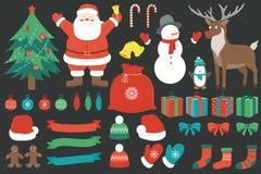 Natale fissato con gli elementi della decorazione Disegnato a mano Vettore Immagine Stock