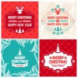 Natale fissato per la cartolina d'auguri d'annata Fotografie Stock Libere da Diritti