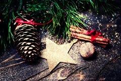 Natale fondo, cartolina d'auguri con il ramo di albero dell'abete Immagini Stock Libere da Diritti