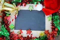 Natale fondo e decorazione della lavagna Fotografia Stock