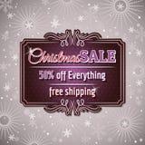 Natale fondo ed etichetta con l'offerta di vendita Fotografie Stock Libere da Diritti
