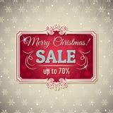 Natale fondo ed etichetta con l'offerta di vendita Fotografie Stock