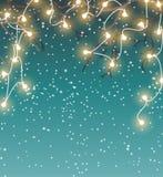 Natale fondo, paesaggio con le luci decorative elettriche, illustrazione di inverno Fotografie Stock Libere da Diritti
