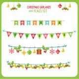 Natale Garland And Flags Set Clip Art On White Background di vettore di vacanze invernali Ghirlanda dell'nuovo anno Immagini Stock Libere da Diritti