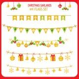 Natale Garland And Flags Set Clip Art On White Background di vettore di vacanze invernali Nuovo anno Garland Decorations Immagine Stock