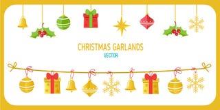 Natale Garland Vector In Gold Color Clip Art On White Background di vettore di vacanze invernali Nuovo anno Garland Decorations Fotografia Stock