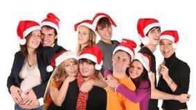 Natale gruppo di molte coppie Fotografia Stock Libera da Diritti