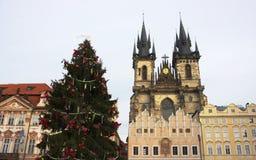 Natale II del tempo - Città Vecchia Squae - Praga Immagini Stock Libere da Diritti