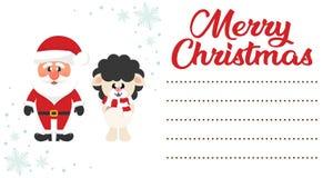 Natale il Babbo Natale del fumetto e cervi di hristmas del  di Ñ sulla lettera di natale a Santa illustrazione di stock
