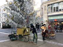 Natale & incanto di Seasonsal in una città francese affascinante Fotografie Stock Libere da Diritti
