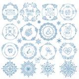Natale, insieme della decorazione del nuovo anno Strutture del cerchio di inverno Immagine Stock