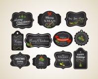 Natale invito d'annata ed etichette della lavagna Immagini Stock