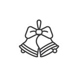 Natale Jingle Bells con la linea icona, segno dell'arco di vettore del profilo, Immagini Stock Libere da Diritti