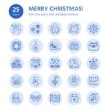 Natale, linea piana icone del nuovo anno Vacanze invernali Immagini Stock