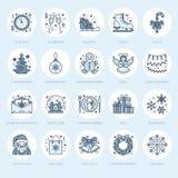 Natale, linea piana icone del nuovo anno Vacanze invernali Immagine Stock Libera da Diritti